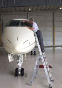 9' LNC Pylon Engine Ladder in action on front of Bombardier Challenger 300