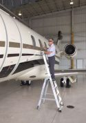 9' LNC Pylon Engine Ladder in action on side of Bombardier Challenger 300