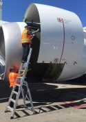 9 Foot Lnc Pylon Ladder With Technician Working In Engine Of Boeing 787 On Tarmac