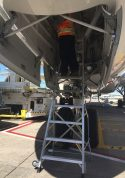 9 Foot Lnc Pylon Ladder With Technician Working In Nose Gear Door Of Boeing 787 On Tarmac4