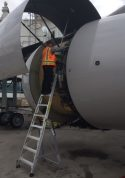9 Foot Lnc Pylon With Technician Working On Engine Of Boeing 777 On Tarmac Second Shot