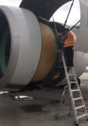 9 Foot Lnc Pylon With Technician Working On Engine Of Boeing 777 On Tarmac