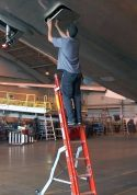 Ee Lite2 Ergonomic Safety Ladder With Technician Closing Aft 48 Section Of Boeing 767