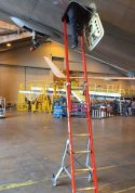 Ee Lite2 Ergonomic Safety Ladder With Technician Entering Aft 48 Section Of Boeing 767