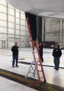 E&E Lite Ergonomic Safety Ladder with tech on Boeing 777