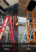 Comparing A-Frame to LockNClimb E&E Lite Ergonomic Safety Ladder for compartment access