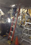 E&E Lite Ergonomic Safety Ladder in compartment of Boeing 757
