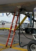 E&E Lite Ergonomic Safety Ladder in E&E compartment on Boeing 757 at tarmac