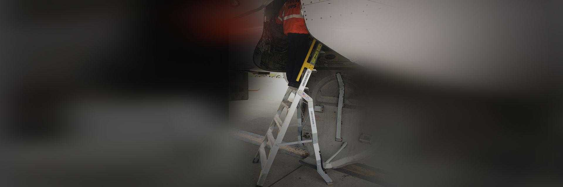 8 Foot Lnc Pylon 320 With Technician Working In Wheel Well On Airbus A320 Hero Shot